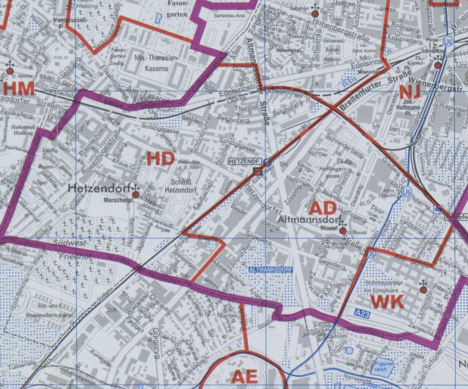 Karte Wien Niederosterreich.12 Hetzendorf Wien Rk Erzdiozese Ostl