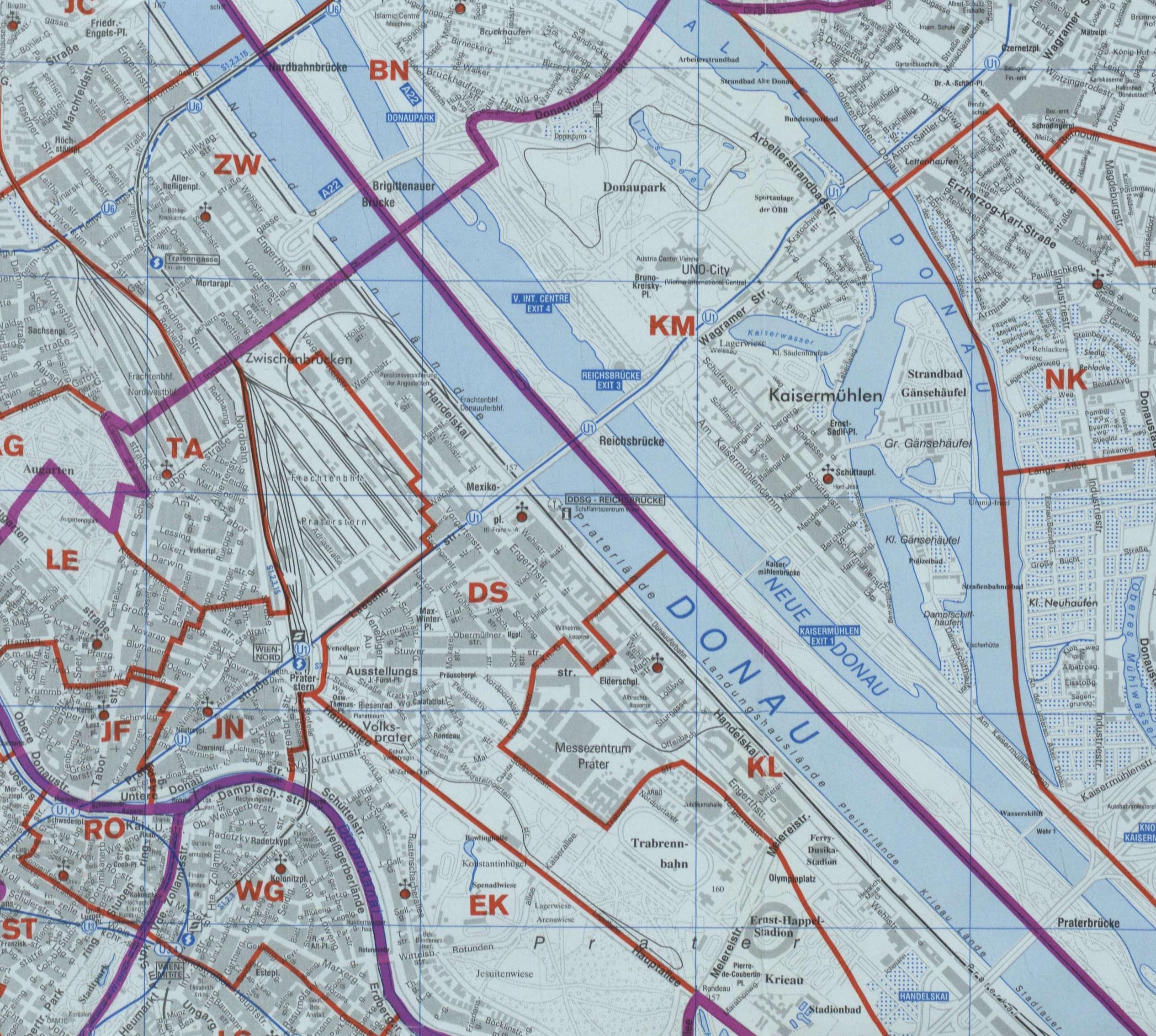 Karte Wien Niederosterreich.22 Kaisermuehlen Wien Rk Erzdiozese Ostl