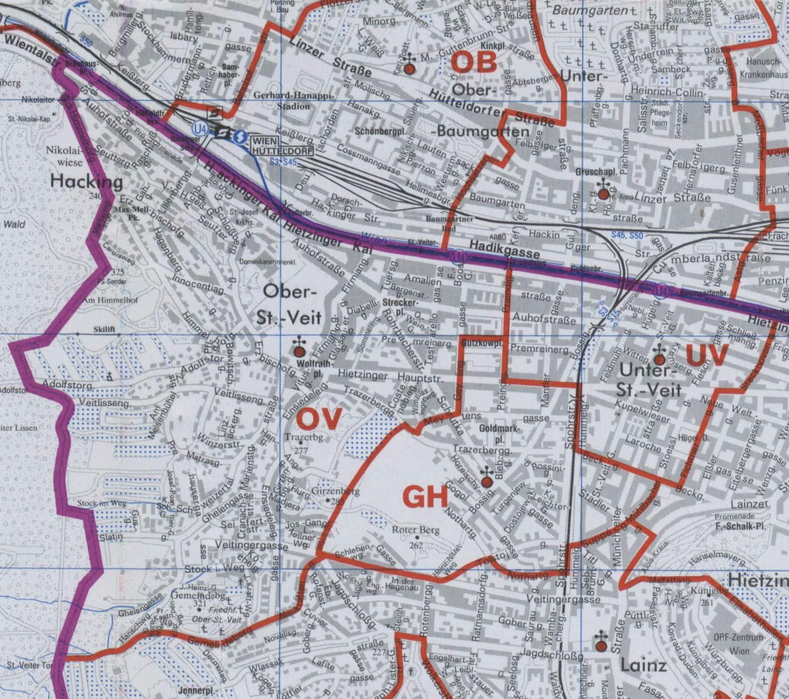 Karte Wien Niederosterreich.13 Ober St Veit Wien Rk Erzdiozese Ostl