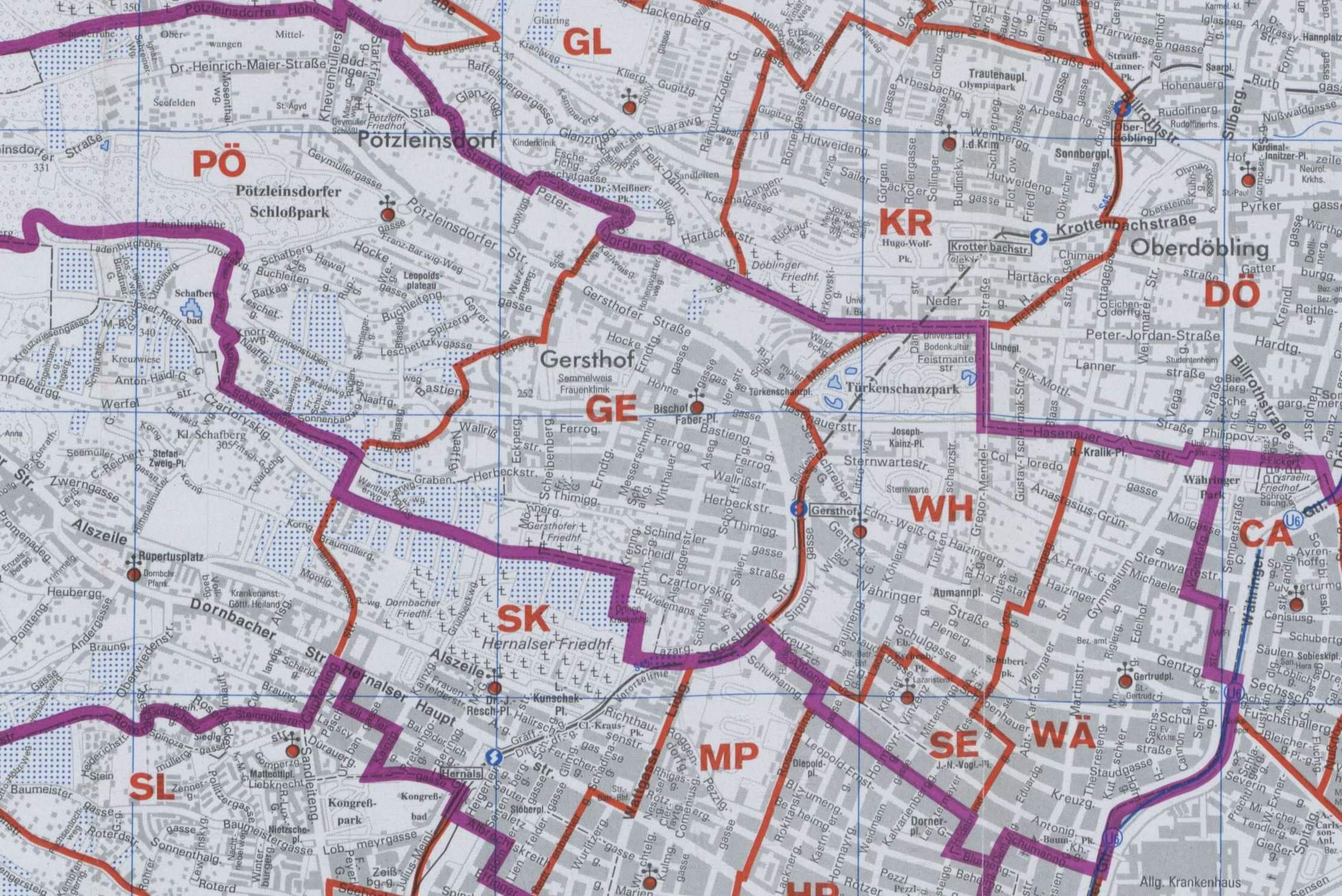 Karte Wien Niederosterreich.18 Waehring Wien Rk Erzdiozese Ostl Niederosterreich